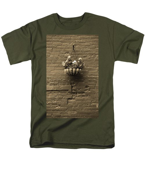 Men's T-Shirt  (Regular Fit) featuring the photograph Rochester, New York - Wall And Flowers Sepia by Frank Romeo