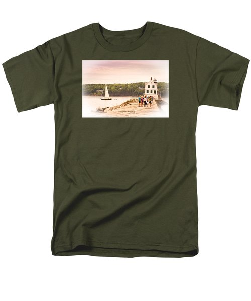Men's T-Shirt  (Regular Fit) featuring the photograph Rockland Breakwater by Paul Miller