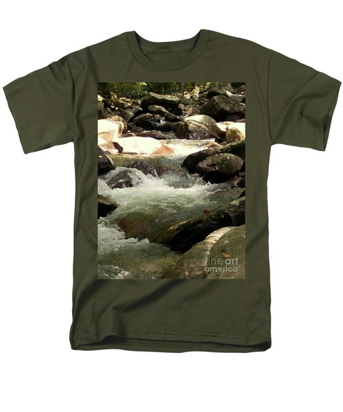 Men's T-Shirt  (Regular Fit) featuring the mixed media Rocky Stream 4 by Desiree Paquette
