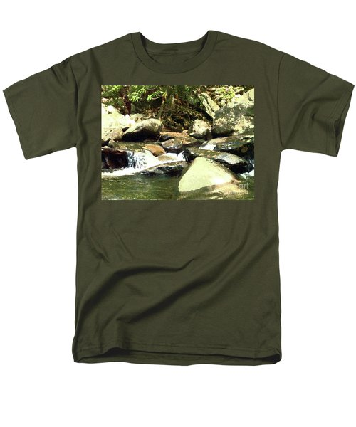 Men's T-Shirt  (Regular Fit) featuring the mixed media Rocky Stream 5 by Desiree Paquette