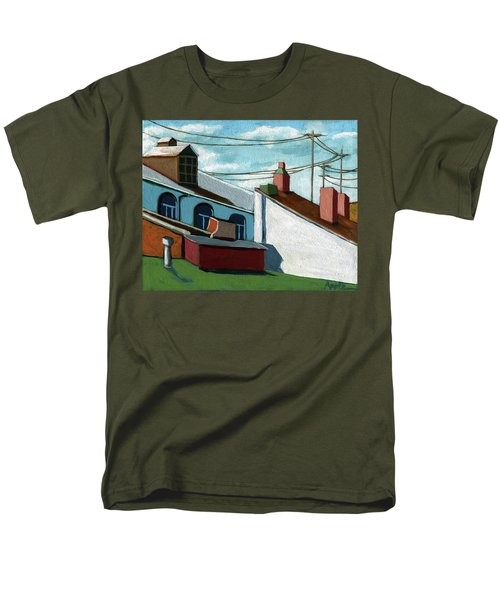 Men's T-Shirt  (Regular Fit) featuring the painting Rooftops by Linda Apple