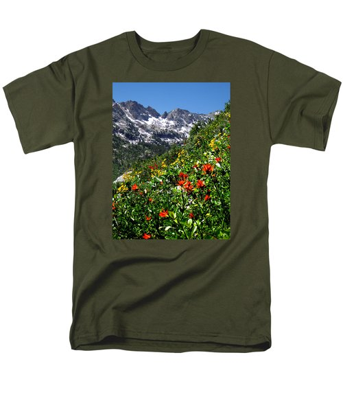Ruby Mountain Wildflowers - Vertical Men's T-Shirt  (Regular Fit) by Alan Socolik