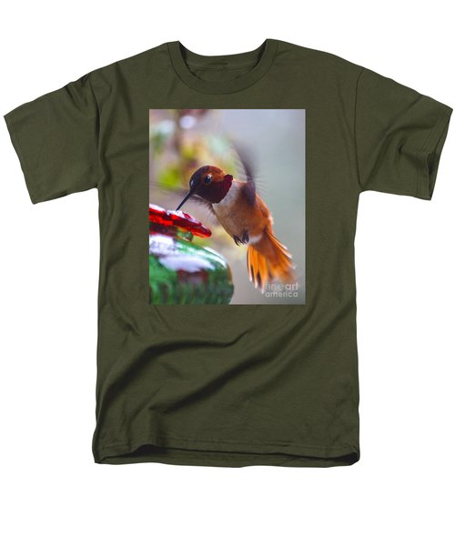 Rufus Hummingbird At The Feeder Men's T-Shirt  (Regular Fit) by Chuck Flewelling