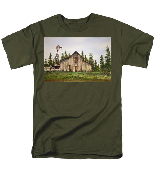 Men's T-Shirt  (Regular Fit) featuring the painting Rustic Barn by James Williamson