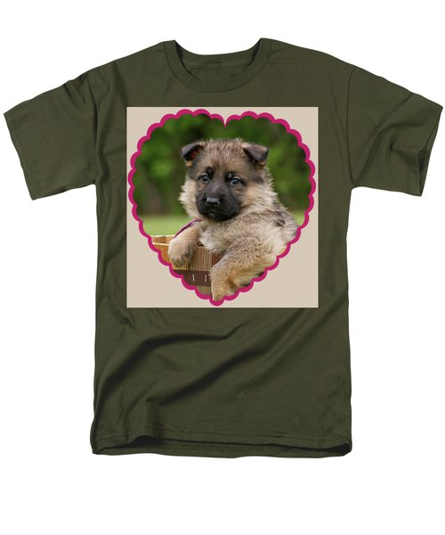 Men's T-Shirt  (Regular Fit) featuring the photograph Sable Puppy In Heart by Sandy Keeton