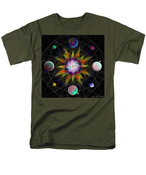 Men's T-Shirt  (Regular Fit) featuring the digital art Sacred Planetary Geometry - Dark Red Atom by Iowan Stone-Flowers