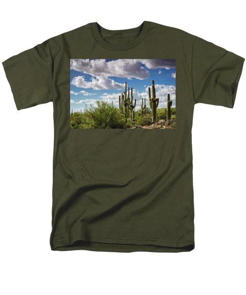 Men's T-Shirt  (Regular Fit) featuring the photograph Saguaro And Blue Skies Ahead  by Saija Lehtonen