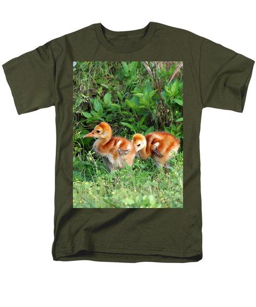 Sandhill Crane Chicks 002 Men's T-Shirt  (Regular Fit) by Chris Mercer