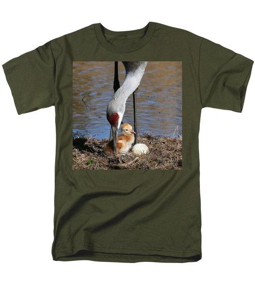 Men's T-Shirt  (Regular Fit) featuring the photograph Sandhill Crane New Family by Myrna Bradshaw