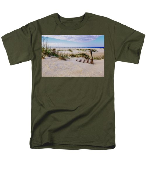 Sand  Fences On The Bogue Banks 2 Men's T-Shirt  (Regular Fit) by John Harding