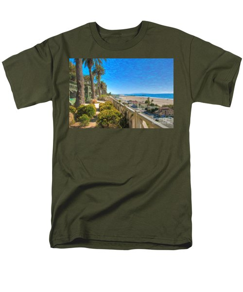 Santa Monica Ca Palisades Park Bluffs Gold Coast Luxury Houses Men's T-Shirt  (Regular Fit) by David Zanzinger