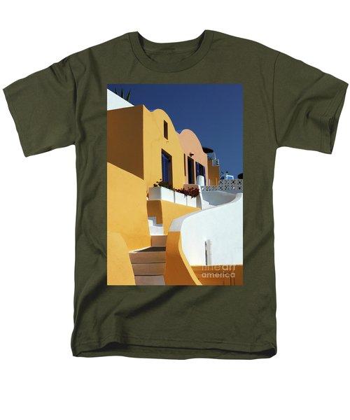 Men's T-Shirt  (Regular Fit) featuring the photograph Santorini Greece Architectual Line by Bob Christopher