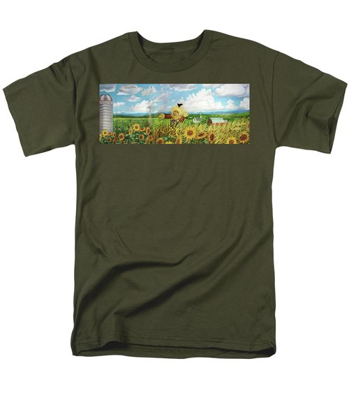 Scare Crow And Silo Farm Men's T-Shirt  (Regular Fit) by Bonnie Siracusa