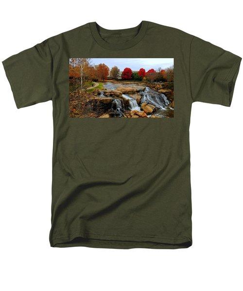 Scene From The Falls Park Bridge In Greenville, Sc Men's T-Shirt  (Regular Fit) by Kathy Barney