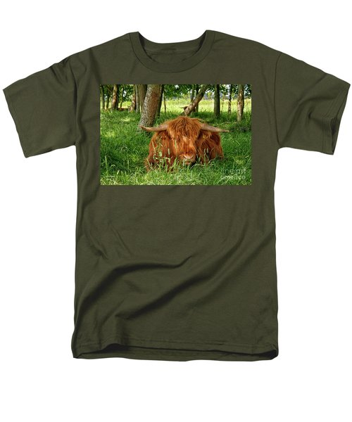 Men's T-Shirt  (Regular Fit) featuring the photograph Scottish Higland Cow by Patricia Hofmeester