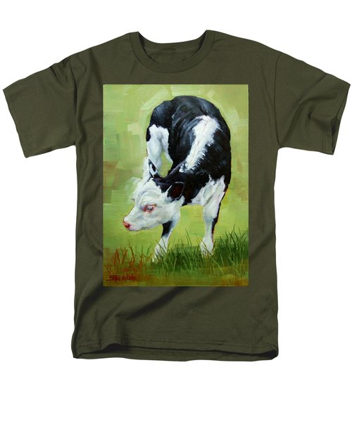 Men's T-Shirt  (Regular Fit) featuring the painting Scratching Calf by Margaret Stockdale