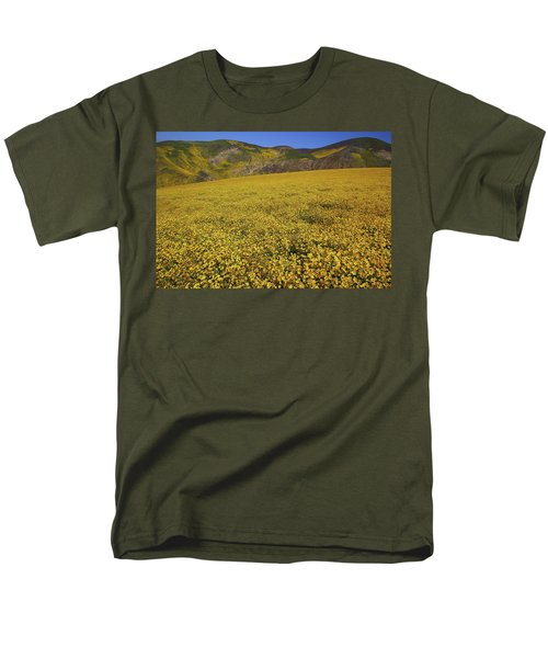 Men's T-Shirt  (Regular Fit) featuring the photograph Sea Of Yellow Up In The Temblor Range At Carrizo Plain National Monument by Jetson Nguyen