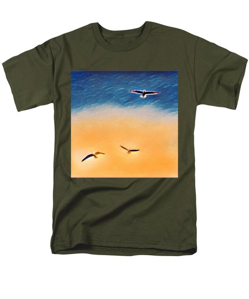 Seagulls Flying In The Burning Sky Men's T-Shirt  (Regular Fit) by Paul Mc Namara