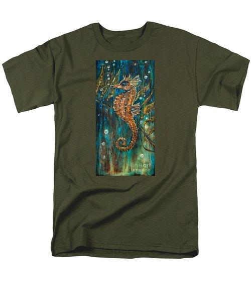 Seahorse And Kelp Men's T-Shirt  (Regular Fit) by Linda Olsen
