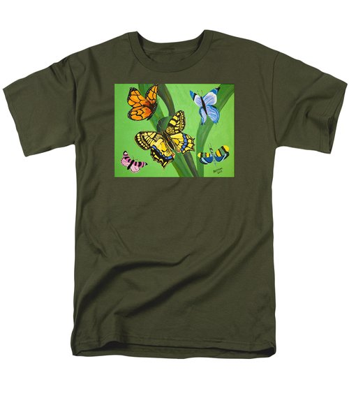Men's T-Shirt  (Regular Fit) featuring the painting Season Of Butterflies by Donna Blossom