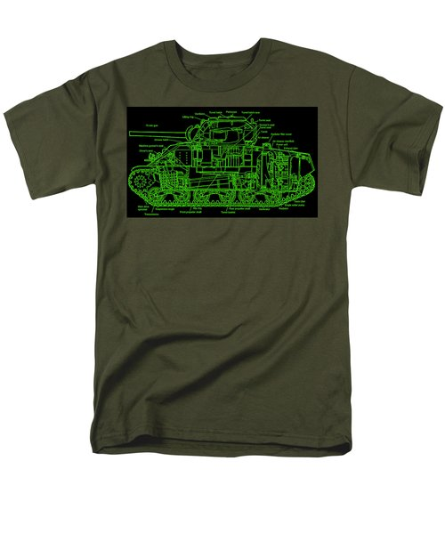 Men's T-Shirt  (Regular Fit) featuring the drawing Sherman M4a4 Tank by Robert Geary
