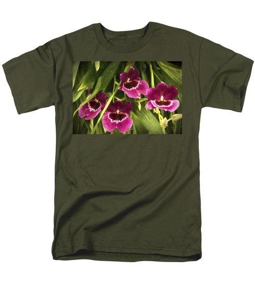 Men's T-Shirt  (Regular Fit) featuring the photograph Shy, Confident, Tentative And Awkward Orchids by Penny Lisowski