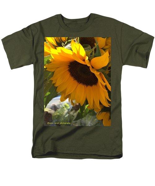 Shy Sunflower Men's T-Shirt  (Regular Fit) by Nance Larson