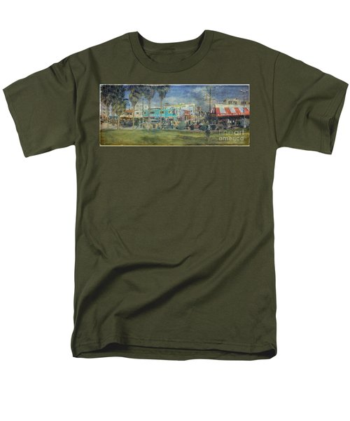 Men's T-Shirt  (Regular Fit) featuring the photograph Sidewalk Cafe Venice Ca Panorama  by David Zanzinger