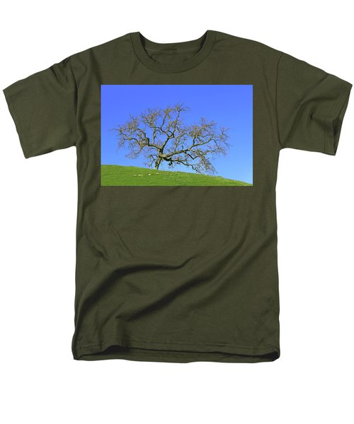 Men's T-Shirt  (Regular Fit) featuring the photograph Single Oak Tree by Art Block Collections