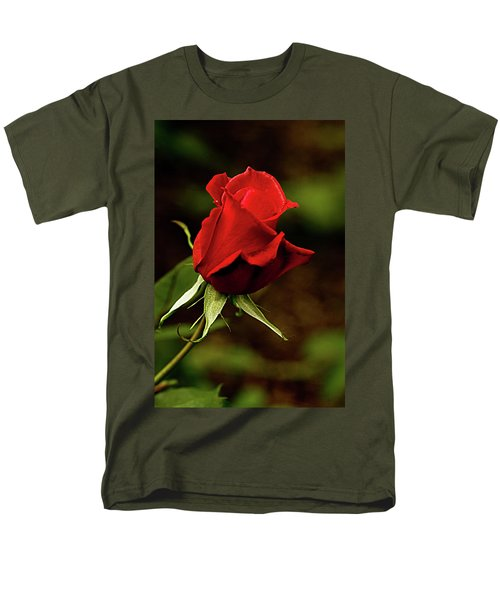 Single Red Rose Bud Men's T-Shirt  (Regular Fit) by Jacqi Elmslie