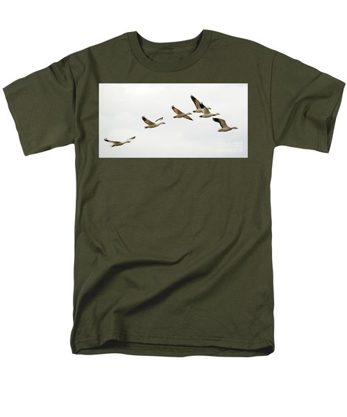 Men's T-Shirt  (Regular Fit) featuring the photograph Six Snowgeese Flying by Mike Dawson