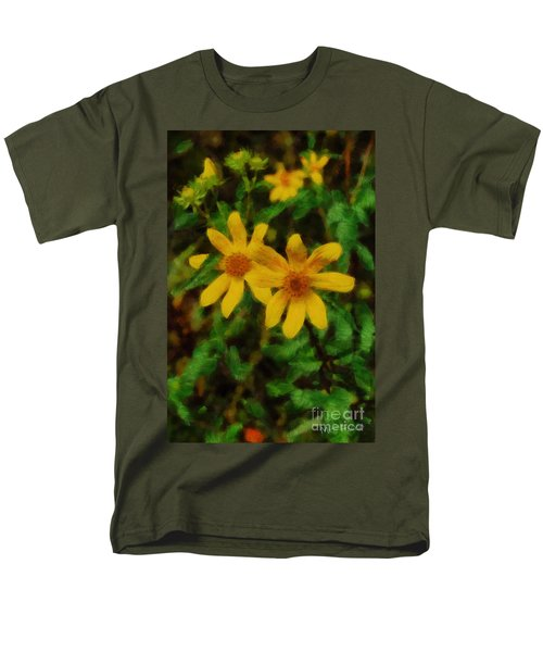 Men's T-Shirt  (Regular Fit) featuring the photograph Sixteen Petals  Two Yellow Wildflowers by Michael Flood