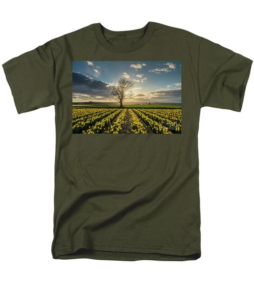 Men's T-Shirt  (Regular Fit) featuring the photograph Skagit Daffodils Lone Tree  by Mike Reid
