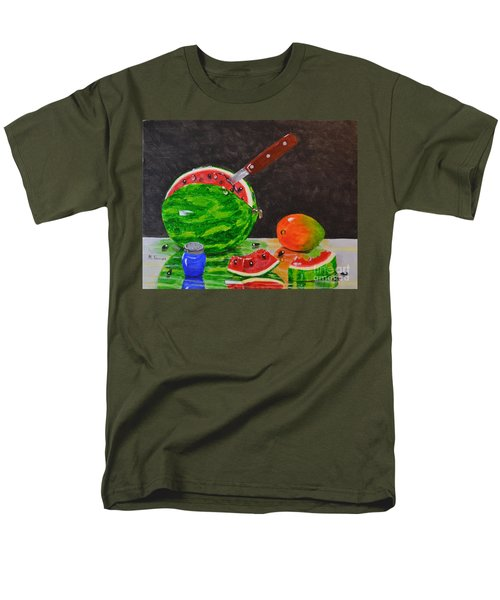 Men's T-Shirt  (Regular Fit) featuring the painting Sliced Melon by Melvin Turner
