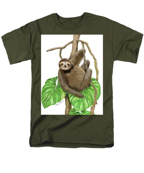 Sloth Hanging Around Men's T-Shirt  (Regular Fit) by Thomas J Herring