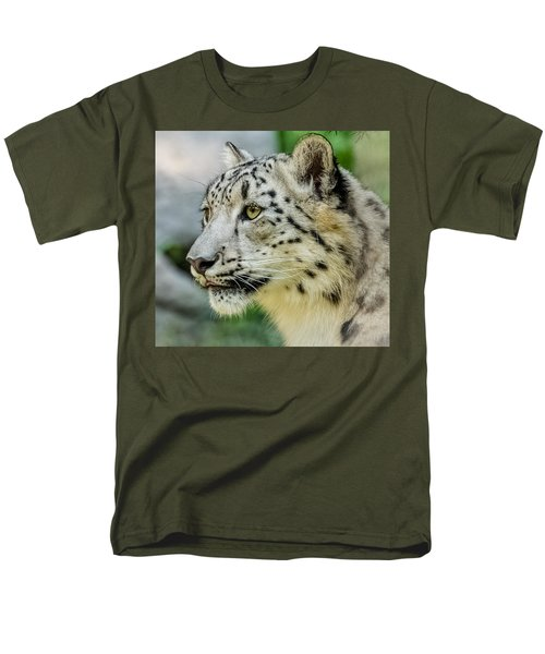 Snow Leopard Portrait Men's T-Shirt  (Regular Fit) by Yeates Photography
