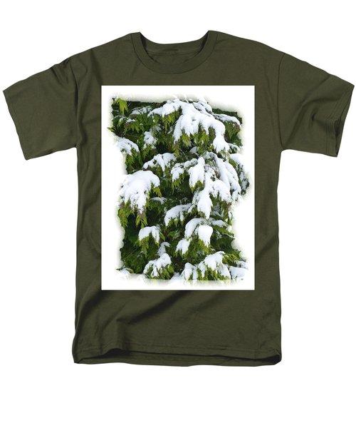 Men's T-Shirt  (Regular Fit) featuring the photograph Snowy Cedar Boughs by Will Borden
