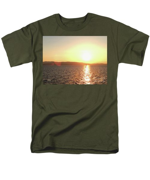 Solitary Sailboat Men's T-Shirt  (Regular Fit) by Felipe Adan Lerma