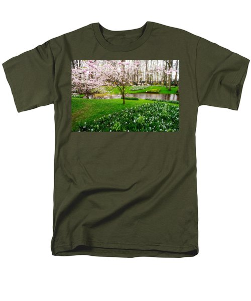 Men's T-Shirt  (Regular Fit) featuring the photograph Spring Blossom In Keukenhof Garden by Jenny Rainbow