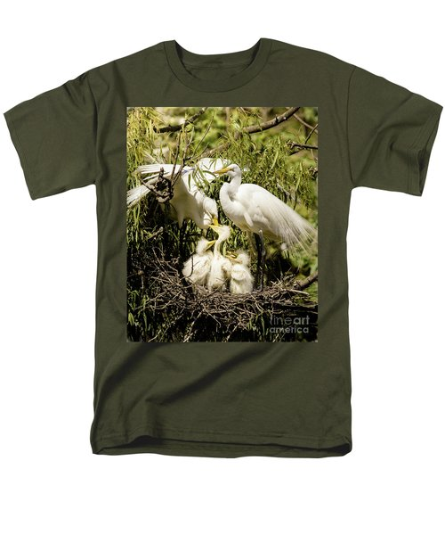 Men's T-Shirt  (Regular Fit) featuring the photograph Spring Egret Chicks by Robert Frederick
