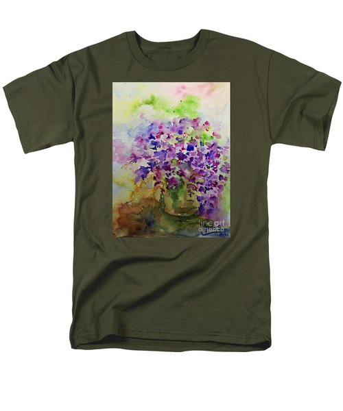 Spring Purple Flowers Watercolor Men's T-Shirt  (Regular Fit) by AmaS Art