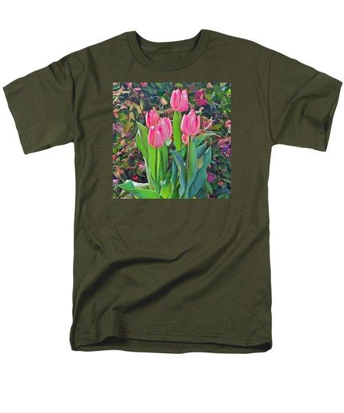 Spring Show 14 Pink Tulips  Men's T-Shirt  (Regular Fit) by Janis Nussbaum Senungetuk