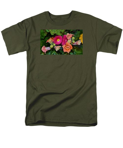 Spring Show 15 Snapdragons And English Daisy Men's T-Shirt  (Regular Fit) by Janis Nussbaum Senungetuk