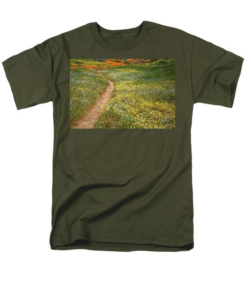 Men's T-Shirt  (Regular Fit) featuring the photograph Spring Trail Through A Sea Of Wildflowers At Diamond Lake In California by Jetson Nguyen