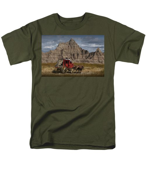 Stage Coach In The Badlands Men's T-Shirt  (Regular Fit) by Randall Nyhof