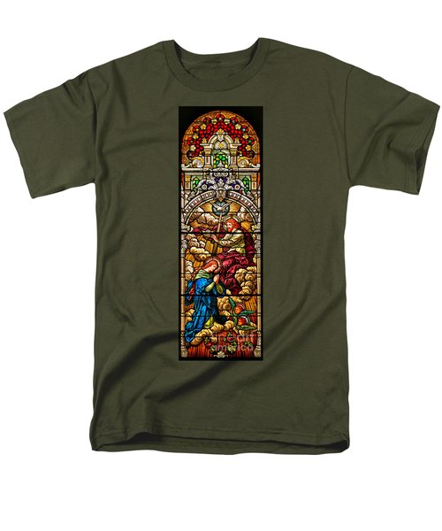 Men's T-Shirt  (Regular Fit) featuring the photograph Stained Glass Scene 7 Crops by Adam Jewell