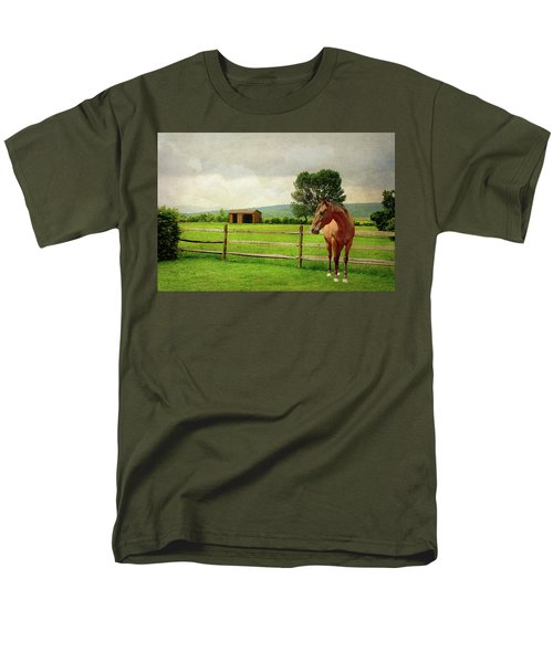 Men's T-Shirt  (Regular Fit) featuring the photograph Stallion At Fence by Diana Angstadt