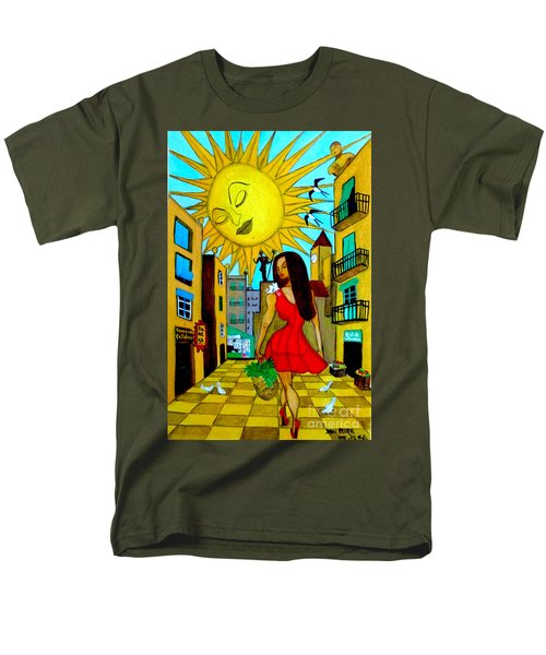 Men's T-Shirt  (Regular Fit) featuring the painting Starting A New Day by Don Pedro De Gracia