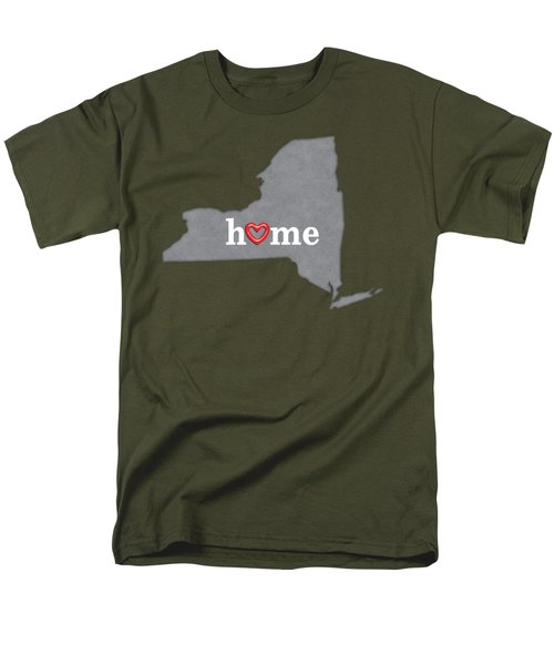 State Map Outline New York With Heart In Home Men's T-Shirt  (Regular Fit) by Elaine Plesser