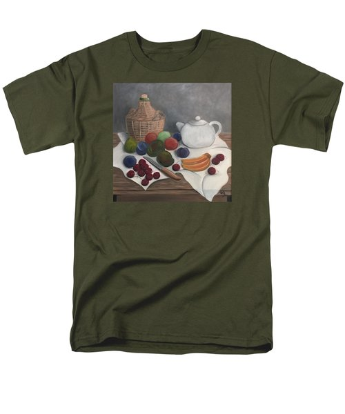 Men's T-Shirt  (Regular Fit) featuring the painting Still Life With Jug Wine And Fruits by Victoria Lakes